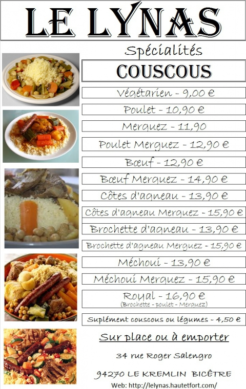 , Couscous, côtes d'agneau, brochettes, merguez, méchoui, bœuf, poulet,
