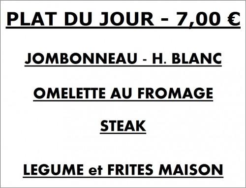 Plat du jour, jombonneau h. blanc, omelette au fromage, steak frites