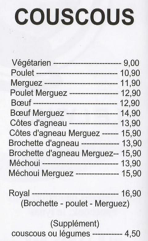 entrecôte,faux filet,couscous,côtes d'agneau,brochettes,merguez,méchoui,bœuf,poulet,saucisse,travers,cailles,petit déjeuner,croissant,tartines,beurre,confitures
