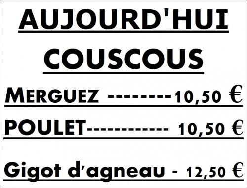 COUSCOUS, MERGUEZ, BOEUF, MECHOUI,COTES D'AGNEAU, BROCHETTES